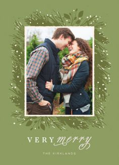 Christmas Photo Holiday Card. Customize Festive Wreath with your own custom photo on Minted.com