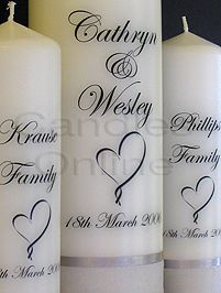 Make your own personalised wedding candles for a fraction of the price of bought ones. to see video, click on youtube link ENJOY.