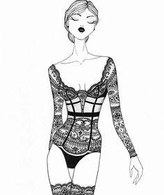Corsetclub lingerie illustration inspired by @laperlalingerie