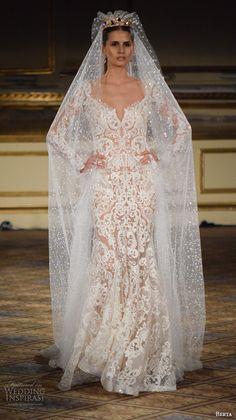 berta fall 2016 new york bridal fashion week gorgeous mermaid wedding dress long sleeves lace embroidery finale