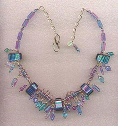 silver wire jewelry, glass beads. Glacial Reflections