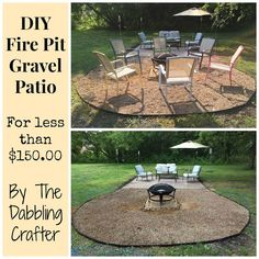 The Dabbling Crafter: DIY Sunday: Fire Pit Gravel Patio area diy ideas modern Sand Fire Pits, Fire Pit Gravel, Outside Fire Pits, Metal Fire Pit, Fire Pit Area, Fire Pit Backyard, Backyard Patio, Backyard Landscaping, Sand Patio
