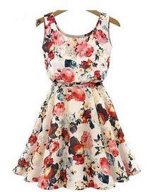 vestido crepe chiffon rodado floral sem manga pronta entrega