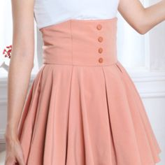 Peach high skirt with buttons