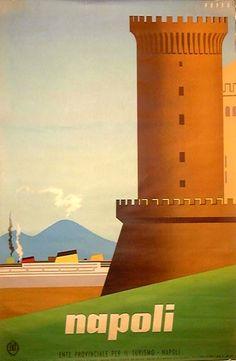 """Poster by Mario Puppo, ca 1950, """"Napoli"""". (I)"""