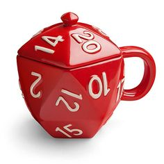 A Ceramic Mug by ThinkGeek Shaped Like a d20 Die