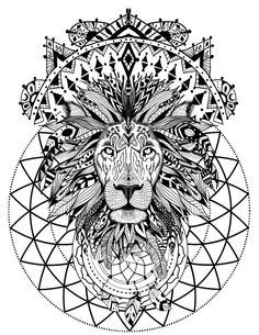 Boho Lion with Sacred Geometry Adult Coloring Book Page | Etsy