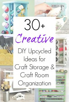 Craft room organization is a constant struggle for crafters, sewists, DIYers, and makers alike. But these upcycling ideas for craft storage and craft organizer projects will most DEFINITELY help you get your craft supplies under control. Find all these ideas compiled on www.sadieseasongoods.com . #craftroom #craftroomorganization #organization #craftsupplies #craftstorage #storage #upcycled