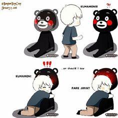 Jimin inside Kumamon body's but Yoongi though thats a real Kumamon Bears , hahaha So Cute ~  but he alr know inside Kumamon Body's is Jimin. - -Credit To Owner this Pic - -#BTS #Jimin #Yoongi #ChimChim #Suga : #whalien52bangtanball