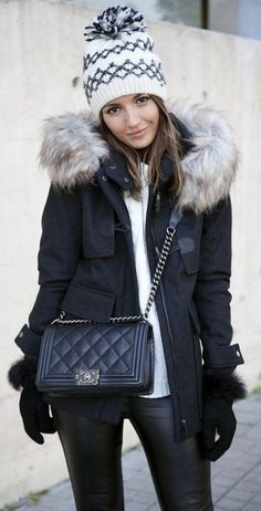 #winter #fashion / White Printed Beanie // Black Jacket // White Top // Leather Leggings // Black Quilted Leather Bag