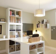 Slit room up with L desk and shelves.... Couch on other side of room. Great use of storage space too