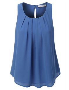 Look casual yet trendy during this season with our chiffon pleated sleeveless blouse top. A sleeveless chiffon blouse crafted from crepe with a pleated front and a buttoned keyhole back. Pleated Shirt, Chiffon Shirt, Sleeveless Blouse, Chiffon Tops, Blue Blouse, Chiffon Blouses, Long Blouse, Top Chic, Mode Outfits