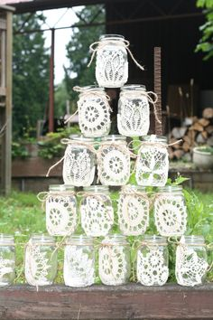 Vintage Lace  Mason Jars, all sorts of uses for wedding decorations?