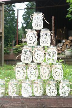 Vintage Lace Mason Jar. $10.00, via Etsy.