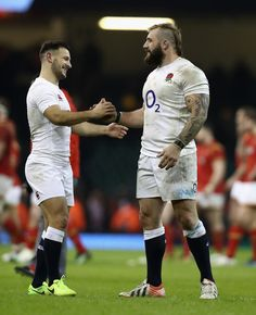 Danny Care (L) of England celebrates with team mate Joe Marler after their victory during the RBS Six Nations match between Wales and England at the Principality Stadium on February 2017 in Cardiff, Wales. Rugby Sport, Rugby Men, South Africa Rugby, Hot Rugby Players, Sports Mix, England Players, Six Nations, Beefy Men, Rugby World Cup