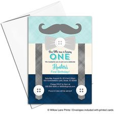 Boy 1st birthday invitation | mustache birthday party invites | suspender birthday invitations for boys | printable printed - WLP00324 by Willow Lane Prints