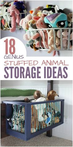 18 Genius Stuffed Animal Storage Ideas Is your child's room overflowing with stuffed animals? It's been a real challenge for us. Our son has outgrown most of his stuffed toys, but he isn't ready to let go of them. He's a sentimental kid. So, in our search Organizing Stuffed Animals, Stuffed Animal Storage, Stuffed Animal Hammock, Storing Stuffed Animals, Stuffed Animal Zoo, Casa Kids, Genius Ideas, Kids Room Organization, Organizing Kids Rooms