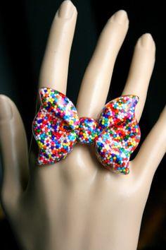 Sprinkles Bow Ring Rainbow Resin Kawaii Lolita Candy by Allysin