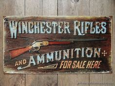 WINCHESTER RIFLES AND AMMUNITION FOR SALE HERE METAL WALL SIGN
