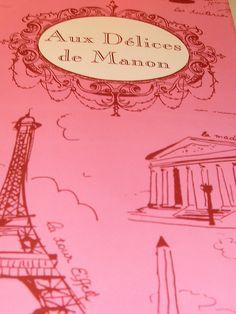 pink menu from Aux Delices de Manon...paris