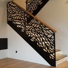 45 amazing modern stair ideas and designs 8 Staircase Railing Design, Interior Stair Railing, Modern Stair Railing, Home Stairs Design, Staircase Handrail, Modern Stairs, House Design, Railing Ideas, Banisters