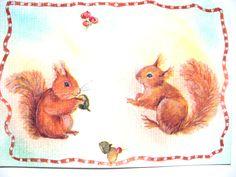 Très jolie carte postale faite mains et son enveloppe décorée assortie. Thème Automne, petits Ecureuils. : Cartes par matt-et-les-petits-cadeaux