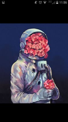 This picture doesn't have a face in it, but instead is another unusual situation where an astronaut suit has flowers packed inside and the suit with no known person is posed with a bouquet. The background is a matching fade, and again I still love the fainted lines and shadows. I wan't those on my cast.
