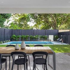 20 Rawson St, Wooloowin, Wooloowin small backyard with pool - Backyard Landscaping Backyard Pool Landscaping, Small Backyard Pools, Backyard Patio Designs, Swimming Pools Backyard, Backyard Fences, Garden Pool, Backyard Ideas, Courtyard Pool, Pool Fence