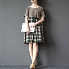 Women grid cotton round collar loose dress