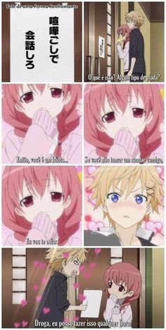 Have no idea what this says, only repinning from Karuta's cuteness. ~Inu x Boku SS