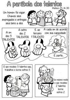 Tia Paula: Parábola dos talentos para colorir - Mateus 25, 14-30                                                                                                                                                                                 Mais