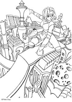 Coloring Page Manga City Of The Future