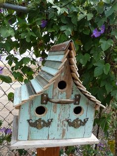Turquoise Cottage Birdhouse Adorn with by threesistersharvest, $65.00