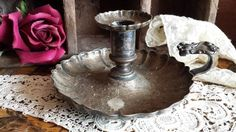 Vintage Old Shabby Silver Plated Chamberstick Holder, Candleholder