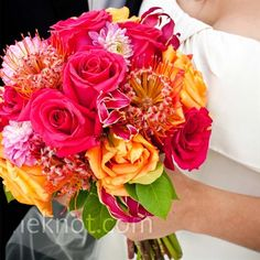 beautiful pink and orange bridal bouquet