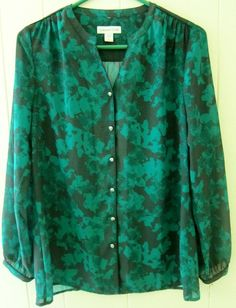 Coldwater Creek Women's Size S 8 Sheer Long Sleeve Green Sample Top New W/Defect #ColdwaterCreek #ButtonDownShirt