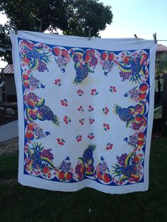 Vintage 1950's Era White Cotton Cutter Tablecloth by thecherrychic, $12.95