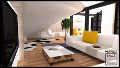 W aranżacji poddasza ze względu na ograniczenie przestrzeni przez skosy, widoczne elementy konstrukcyjne oraz  wsporniki, zastosowano otwarte przestrzenie. Zamiast stosować ścianki działowe, skorzystano z podzielnia poddasza na strefy - sypialnianą, jadalnianą, garderobianą. Ograniczenia przestrzenne pełnią filary i meble - dostosowane do wysokości pomieszczenia. Dla uzyskania efektu optycznego powiększenia przestrzeni w tym przypadku zastosowano lustrzane filary.