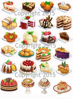 Cakes and Pies Images #1 Collage Sheet for Decoupage, Altered Art, Scrapbooking