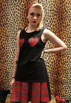 Pretty Disturbia Punk Black Tail Top With Tartan Hearts from Pretty Disturbia