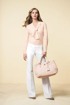 The Limited Scandal Collection Neck-Tie Blouse ($70) The Limited Scandal Collection Liv Flare Leg Trouser Pants ($98)