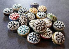 Porcelain double sided star flower beads