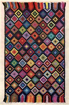 Vintage Pattern Afghan Needlepoint Rug pdf by illkniterate Bargello Needlepoint, Needlepoint Patterns, Needlepoint Canvases, Embroidery Patterns, Cross Stitching, Cross Stitch Embroidery, Cross Stitch Patterns, Cross Stitch Geometric, Modern Cross Stitch