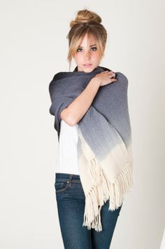 Gray Ombre handwoven wrap merino wool dip dye shawl by texturable