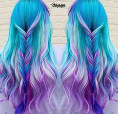 best unicorn hair looks and ideas out there Cute Hair Colors, Pretty Hair Color, Beautiful Hair Color, Hair Dye Colors, Rainbow Hair Colors, Pastel Rainbow Hair, Pastel Blue, Unicorn Hair Color, Bright Hair