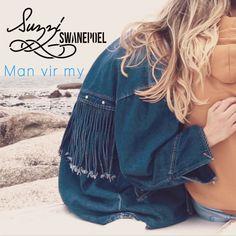Man vir my - Suzzi Swanepoel Drawstring Backpack, Denim, Jackets, Fashion, Moda, Fasion, Fashion Illustrations, Fashion Models, Cropped Jackets