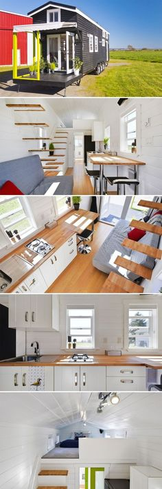 A 310 sq.ft. tiny house with two lofts. One loft is accessed by floating stairs, the other loft is accessed by storage stairs.