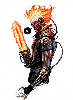 "Ghost Rider 2099 by Dan Mora * still more ""the real Ghost Rider"" than that muscle car ""its not a helmet "" BS Marvel tried to hand us, no wonder it got cancelled. Maybe the Secret Wars will fix this and we'll end up with a Ketch or Blaze version. Marvel 2099, Marvel Comics Art, Marvel Heroes, Ms Marvel, Captain Marvel, Comic Book Characters, Marvel Characters, Comic Character, Comic Books Art"
