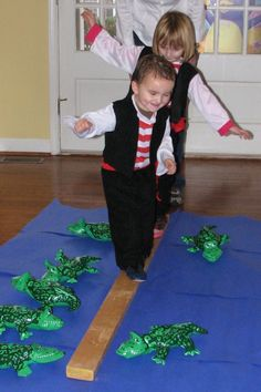 Balance and coordination activities for preschool with a fun twist! Walk the pla… Balance and coordination activities for preschool with a fun twist! Walk the plank without falling into the alligator waters below! Pirate Day, Pirate Birthday, Birthday Games, Birthday Party Games For Kids, 13th Birthday Parties, Luau Birthday, Frozen Birthday Party, Luau Party, Frozen Party