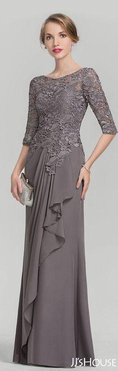 JJsHouse A-Line/Princess Scoop Neck Floor-Length Chiffon Lace Mother of the Bride Dress With Cascadi Dress Brukat, Kebaya Dress, Lace Dress, Party Dress, Hijab Dress, Dress Long, Kebaya Hijab, Turban Hijab, Trendy Dresses